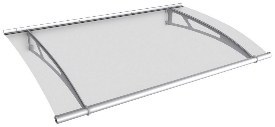 Pultvordach »Edelstahl«, 150x95x17 cm, silberfarben-transparent in silberfarben