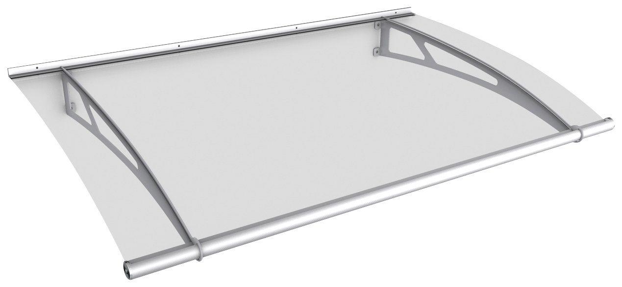 Pultvordach »Edelstahl«, 150x95x17 cm, silberfarben-transparent