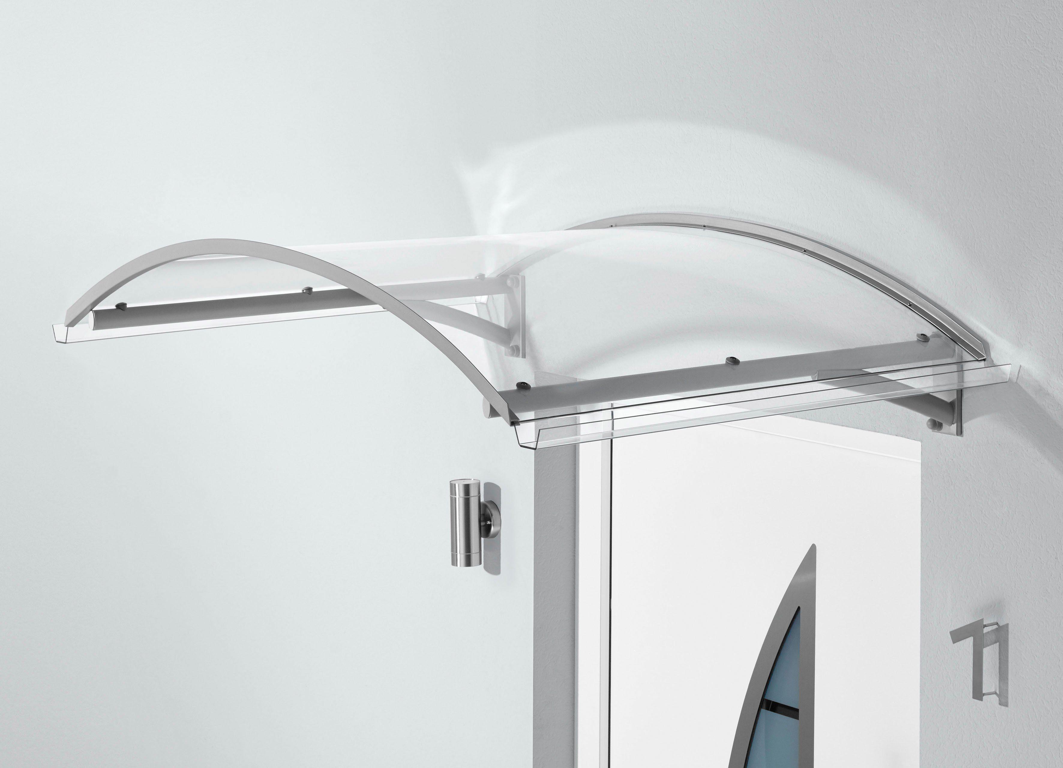 Bogenvordach »TYP BV SECCO«, 150x90x32 cm, silberfarben-transparent