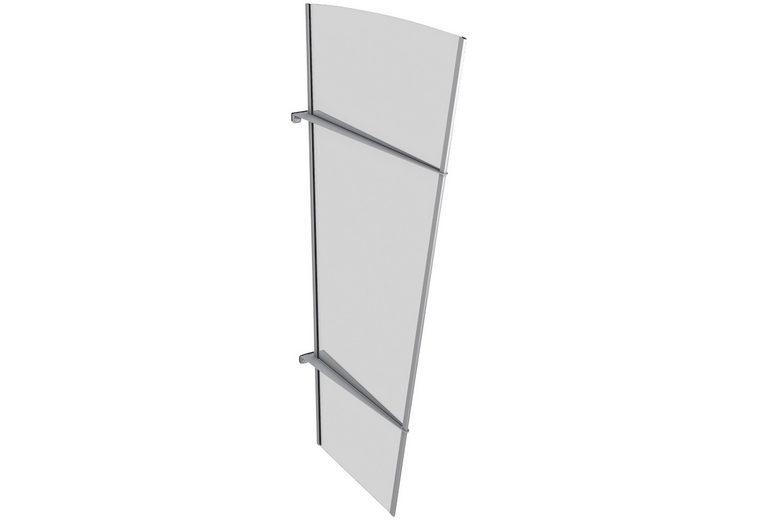 Seitenteile für Vordächer »XL Edelstahl«, BxH: 85x167 cm, silberfarben/weiß satiniert