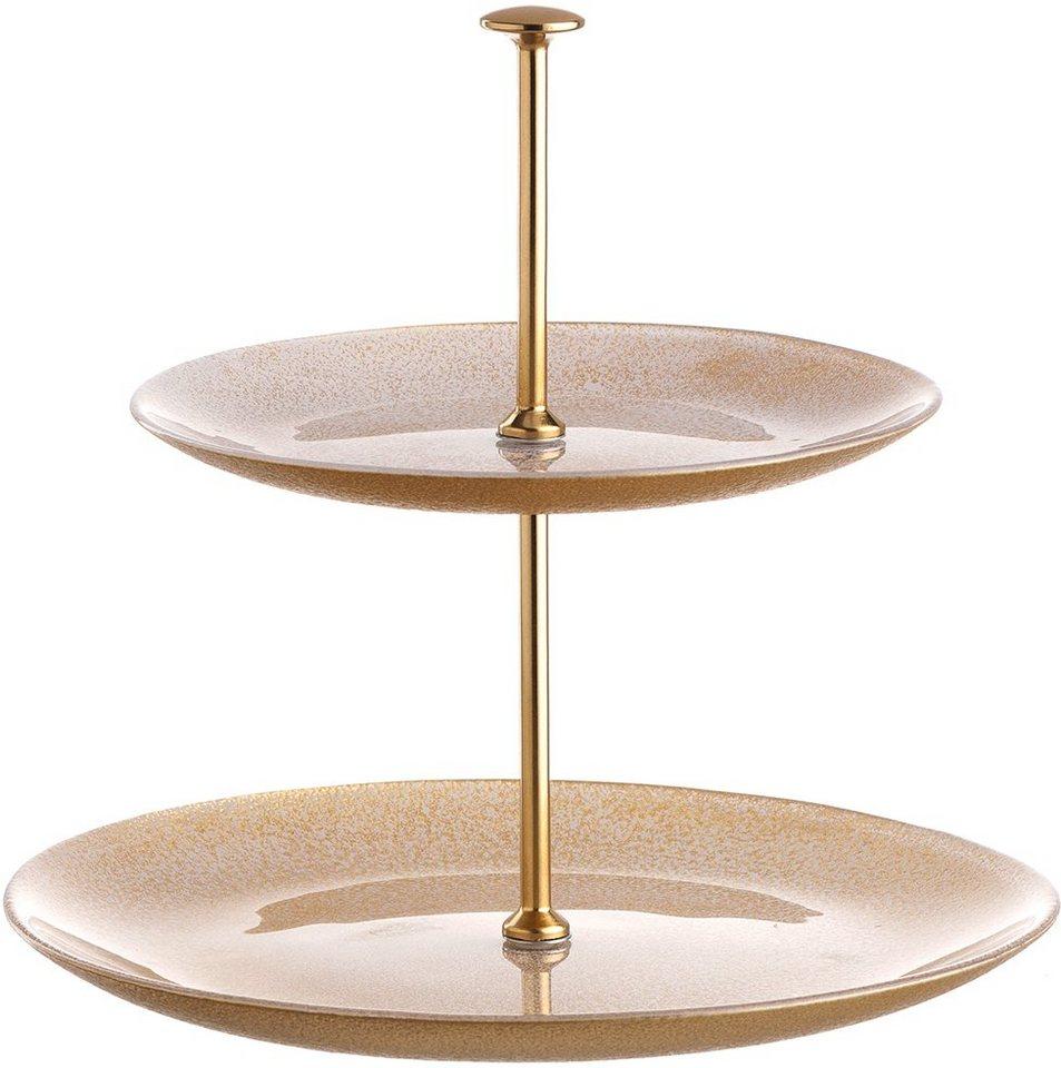 LEONARDO Etagere, Glas in weiß/goldfarben