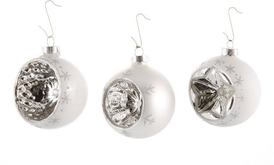 Inge´s Christmas Decor Reflexkugel, 3-tlg. in weiß/silberfarben