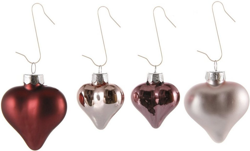 Inge´s Christmas Decor Herzsortiment 16-teilig, »Magic - Avenue of Romance« in rosa
