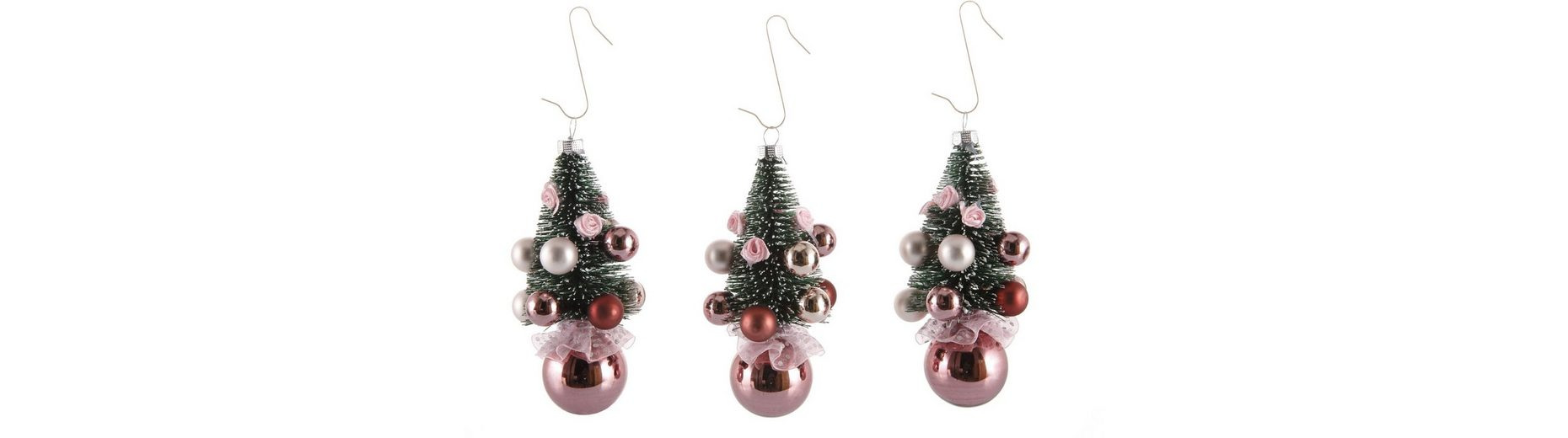 Inge´s Christmas Decor Deko-Bäumchen 3-teilig , »Magic - Avenue of Romance«