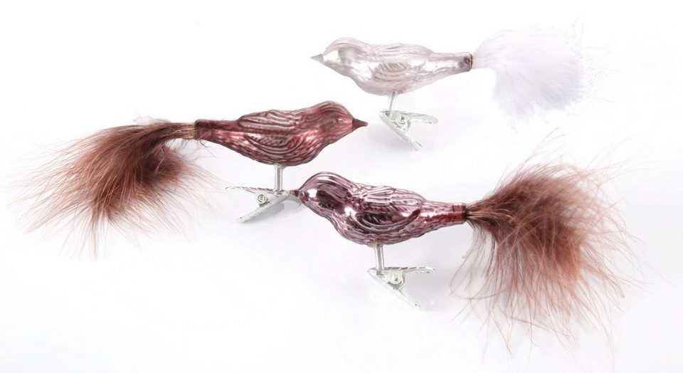 Inge´s Christmas Decor Vogelsortiment 6-teilig , »Magic - Avenue of Romance« in rosa