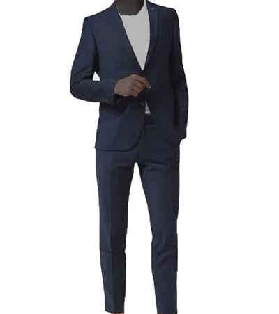 CG Club of Gents Anzug »CLUB of GENTS Anzug stylische Herren Anzugs-Jacke und Anzugs-Hose Sakko Business-Anzug Slim-Fit mit Karomuster Blau«