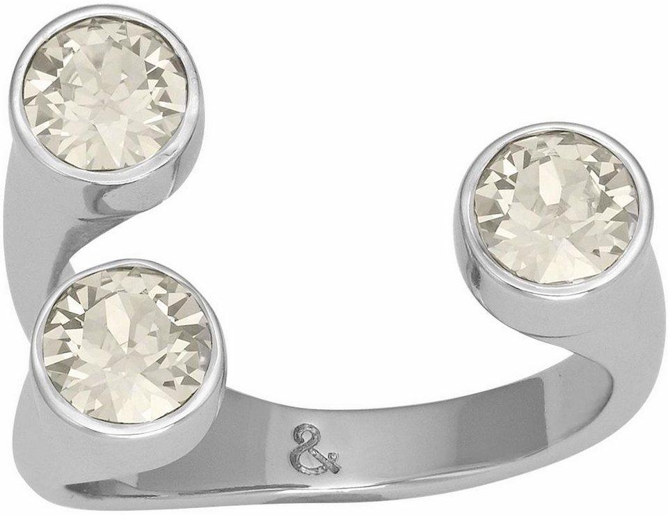 Lolaandgrace Fingerring »STONE Y-RING, 5251919, 5251920, 5251921« verziert mit Swarovski® Kristallen in silberfarben-hellgrau