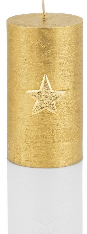 Wiedemann Marble Rustic Kerze, »Christmas Star« 4er-Set, Höhe 13 cm in goldfarben