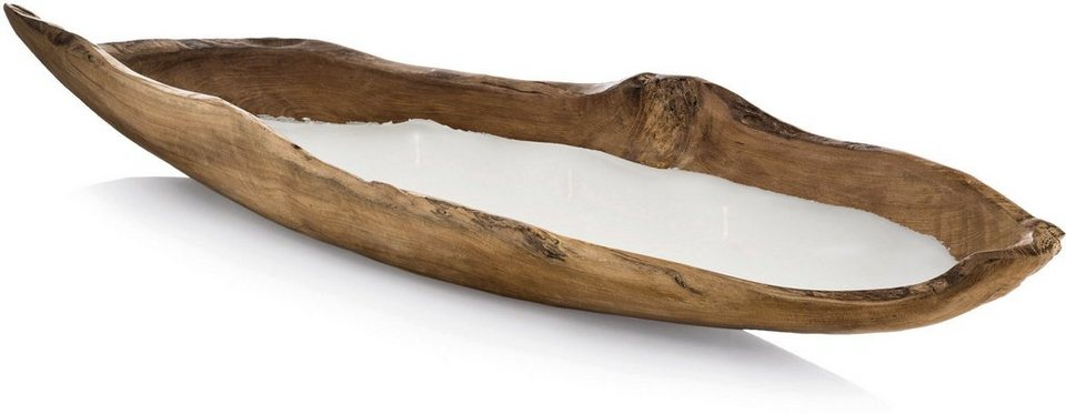 Wiedemann Mehrdochtkerze Teakholz Boot, ca. Ø 70 cm in natur-gewachst