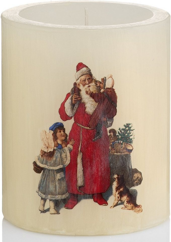 Wiedemann Lampionkerze Vintage Edition, »Santa« 4er-Set, Höhe 12 cm in beige/rot