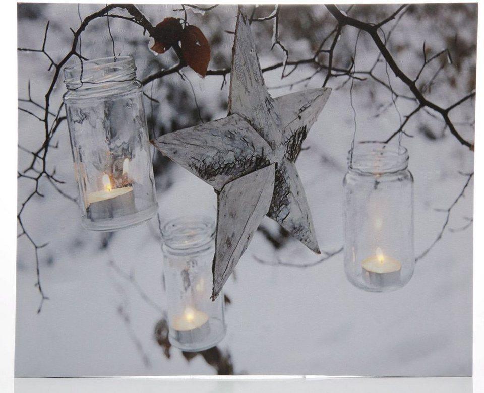 LED-Bild, »Stern« in weiß/grau