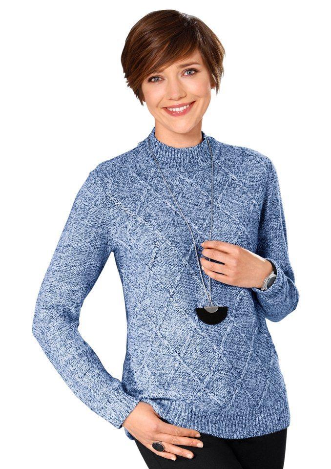 Classic Basics Pullover in Linksstrick-Optik in blau-meliert