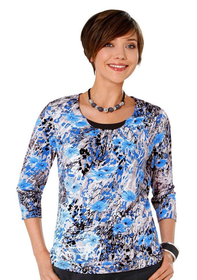 Classic Basics Shirt mit 3/4-Ärmeln in kobalt-bedruckt