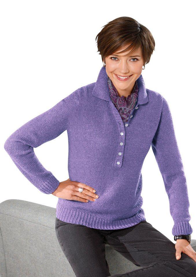 Classic Basics Pullover in weicher Bouclé-Qualität in lavendel