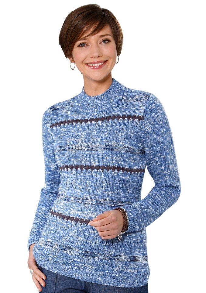 Classic Basics Pullover mit Stehkragen in jeansblau-meliert