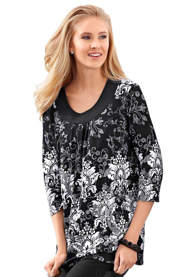 Classic Basics Shirttunika mit Rundhals-Ausschnitt mit Raffung in schwarz-weiß