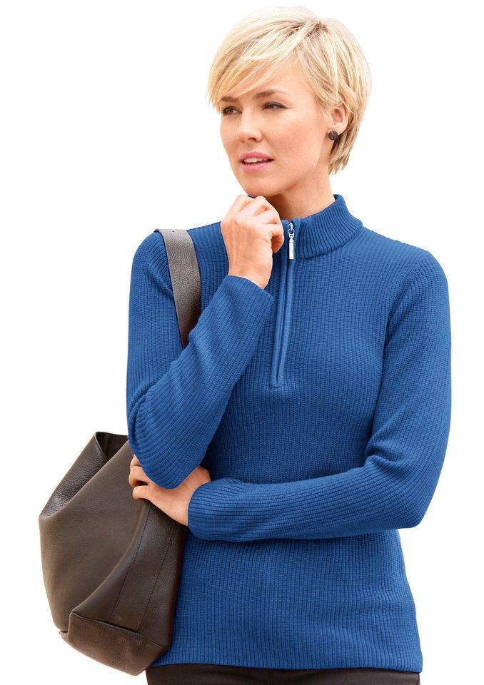 Collection L. Pullover mit geripptem Saum in blau