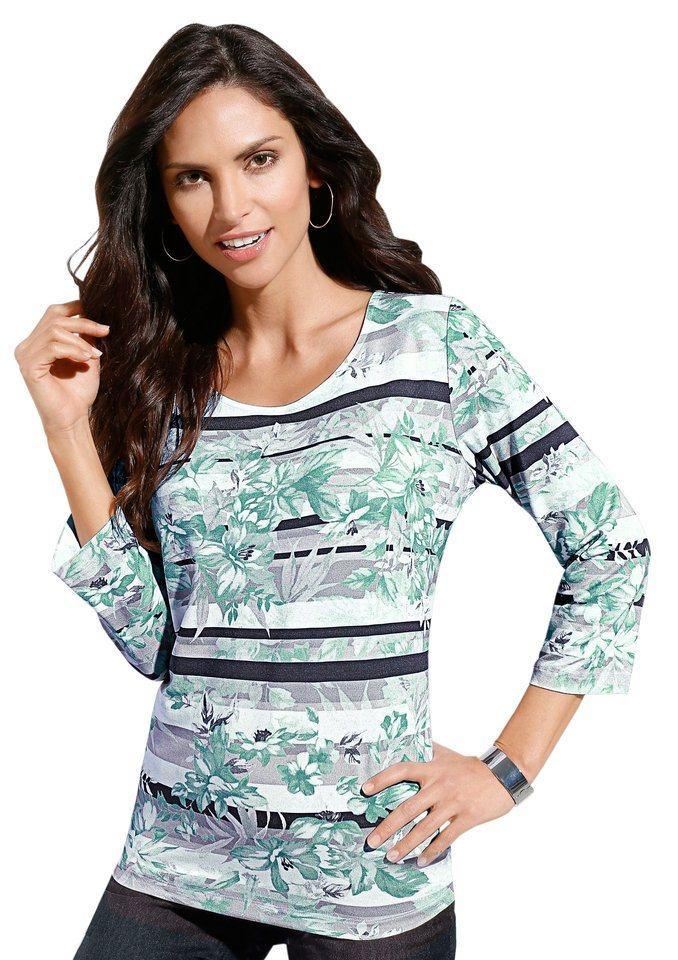 Classic Inspirationen Shirt mit 3/4-Ärmeln in grau-eisblau-bedruckt