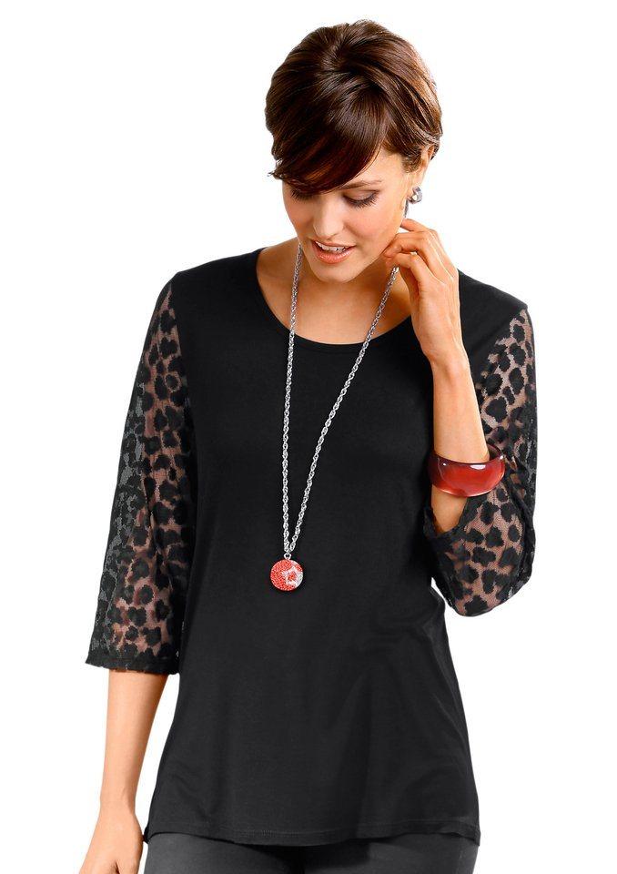 Classic Basics Shirt mit 3/4-Ärmeln in schwarz