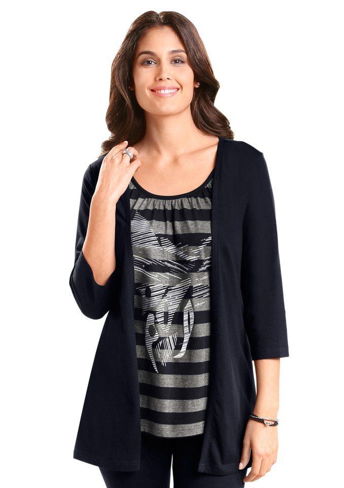 Classic Basics 2-in-1-Shirt mit 3/4-Ärmeln in schwarz-grau