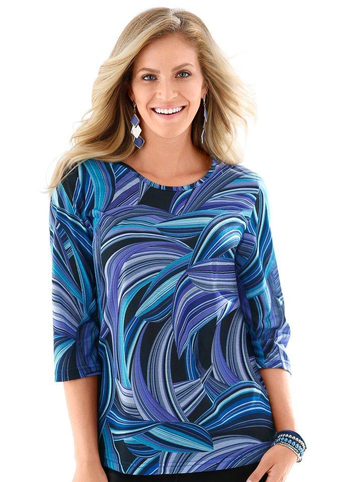 Classic Basics Shirt mit 3/4-Ärmeln in blau-gemustert