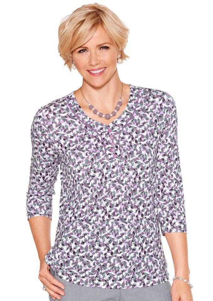 Classic Inspirationen Shirt mit 3/4-Ärmeln in pflaume-grau-bedruckt