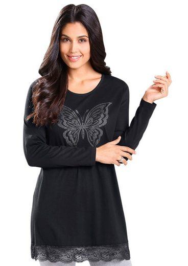 Classic Basics Longshirt mit silberfarben schimmerndem Schmetterlings-Motiv