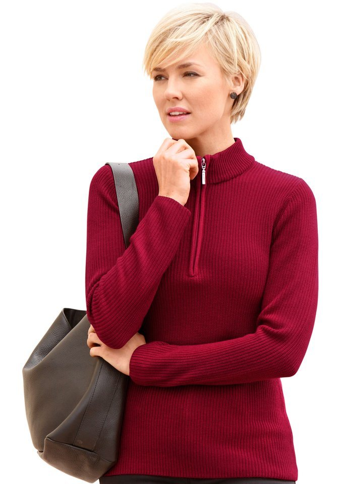 Collection L. Pullover mit geripptem Saum in rot