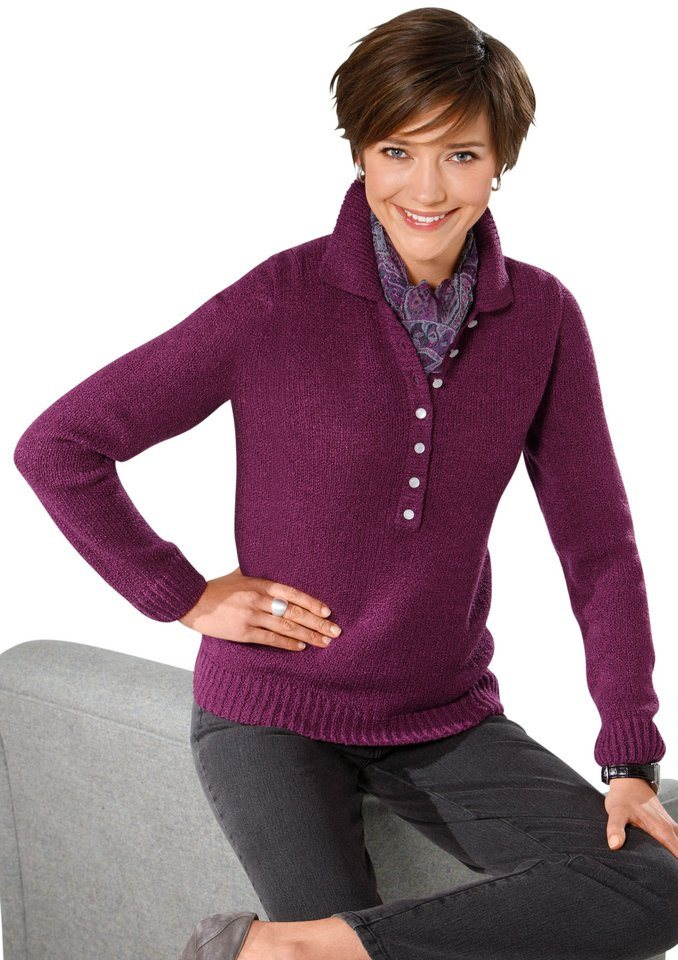 Classic Basics Pullover in weicher Bouclé-Qualität in brombeer