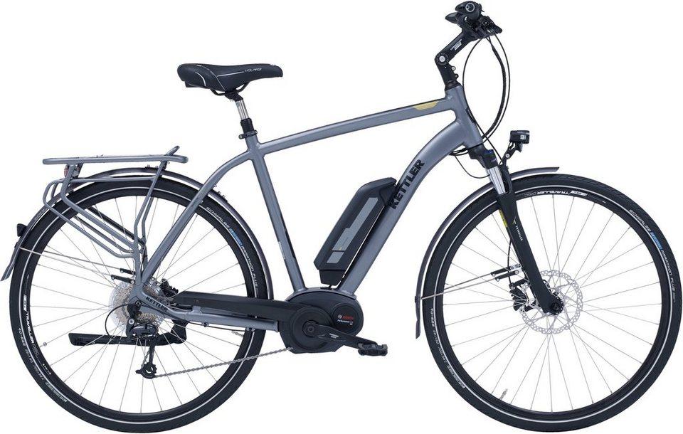 Kettler E-Bike, Mittelmotor 36V/250W, 28 Zoll, 9 Gg.-Shimano Deore Kettenschalt., »Traveller E Gold« in silberfarben