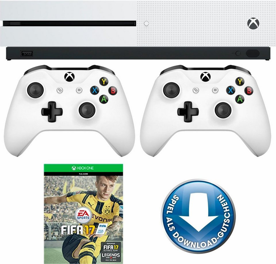 Xbox One S 500GB + FIFA 17 (DLC) + 2. Controller, 4K Ultra HD in weiß