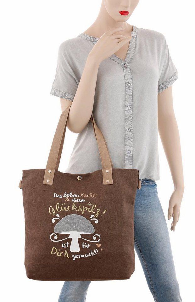 ADELHEID Shopper mit Printbild in braun-taupe