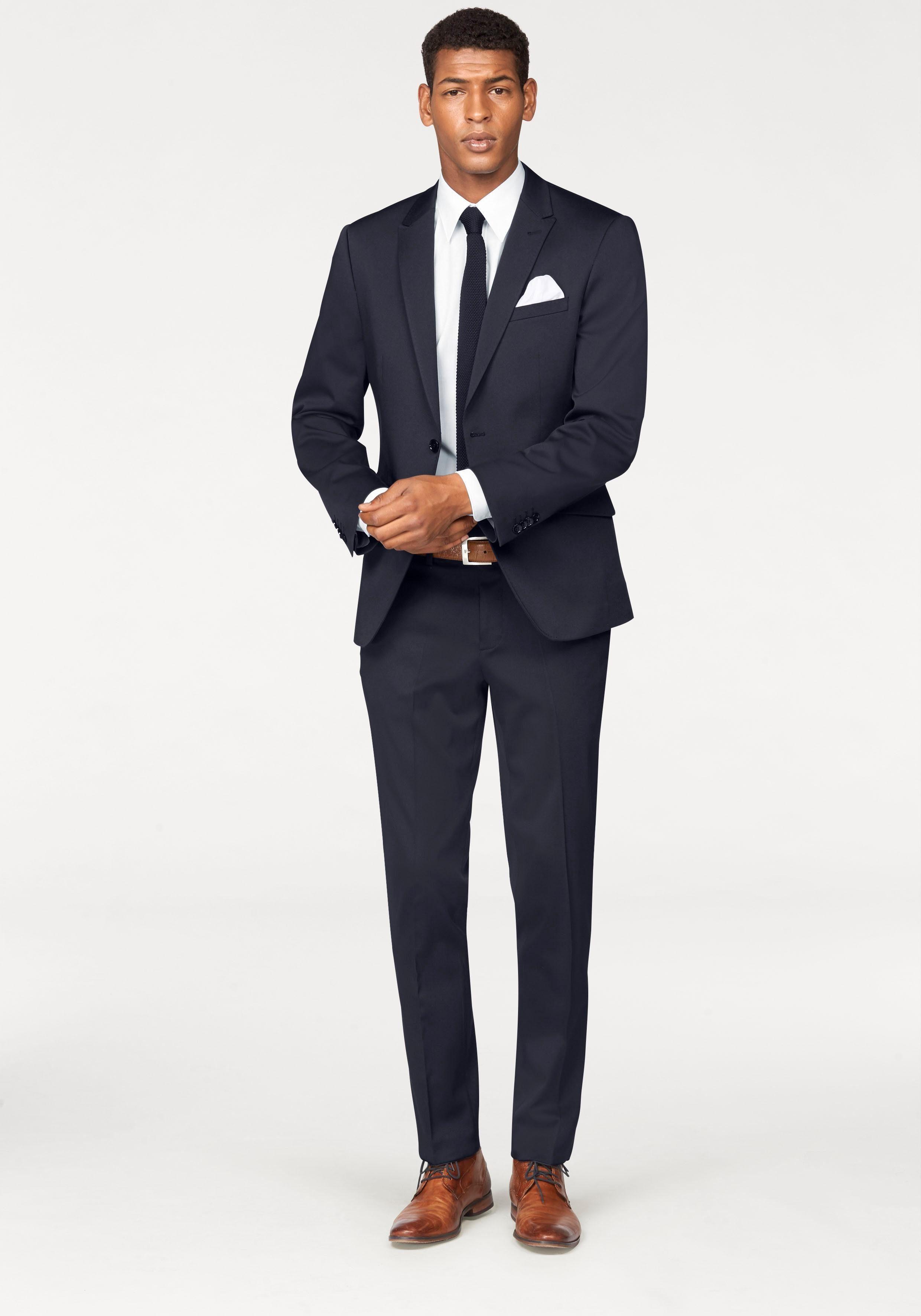 Bruno Banani Anzug 4-teilig (Set, 4-tlg., mit Krawatte und Einstecktuch)