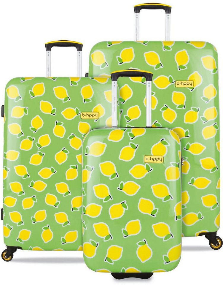 b-hppy Hartschalentrolley Set mit 2/4 Rollen, 3-tlg., »Easy Peasy Lemon Squeezy«