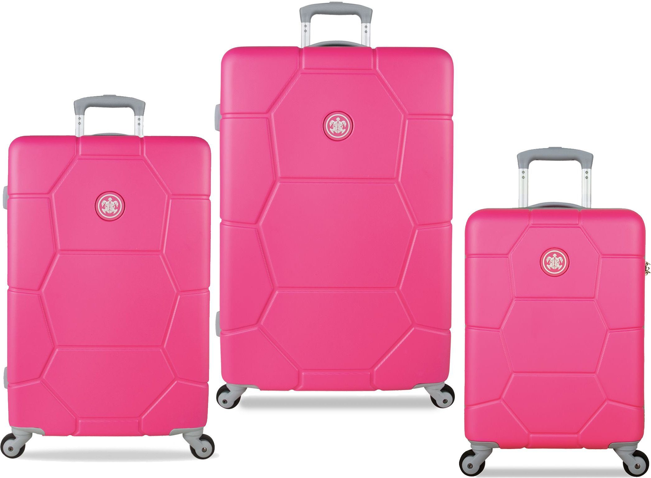 SUITSUIT® Hartschalentrolley Set mit 4 Rollen, 3-tlg., »Caretta Shocking Pink«