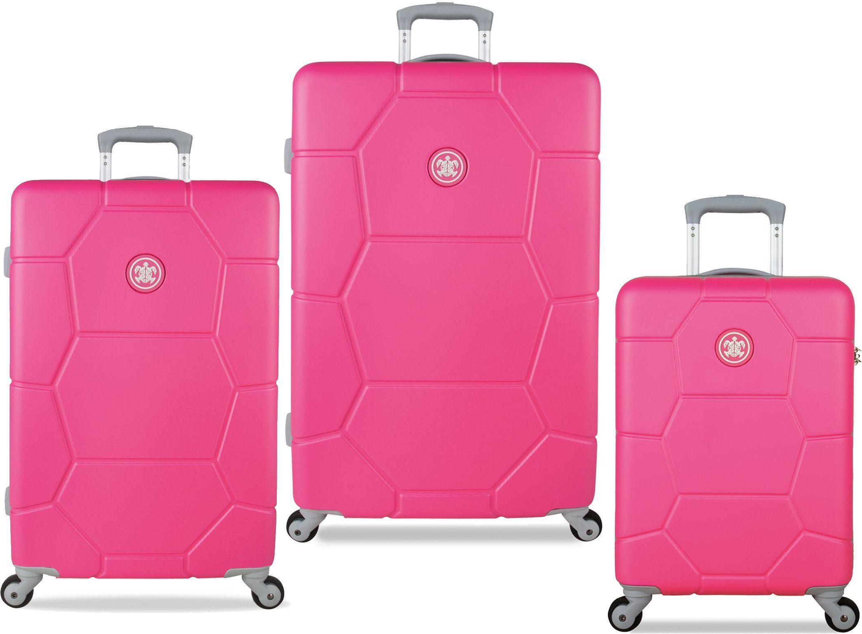 SUITSUIT® Hartschalentrolley Set mit 4 Rollen, 3-tlg., »Caretta Shocking Pink«