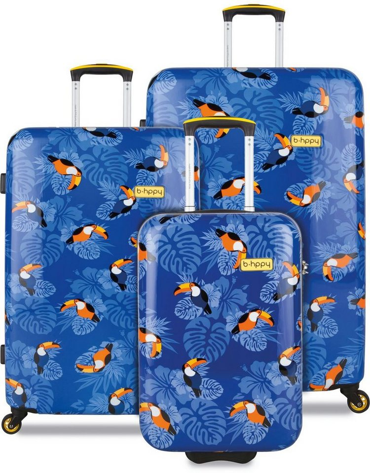b-hppy Hartschalentrolley Set mit 2/4 Rollen, 3-tlg., »I can Toucan« in blau