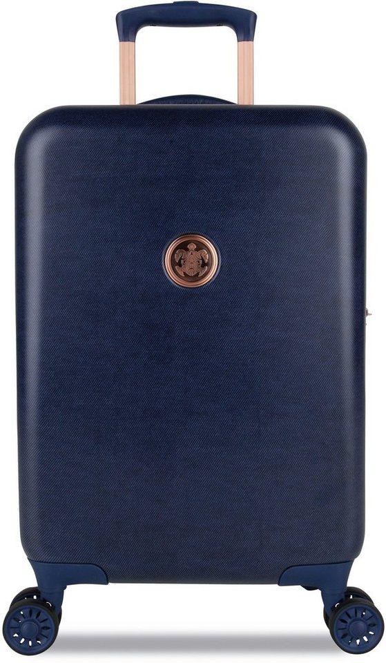 SUITSUIT® Hartschalentrolley mit 4 Rollen, »Raw Denim« in blau