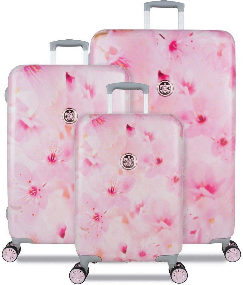 SUITSUIT® Hartschalentrolley Set mit 4 Rollen, 3-tlg., »Sacura Blossom« in rosa