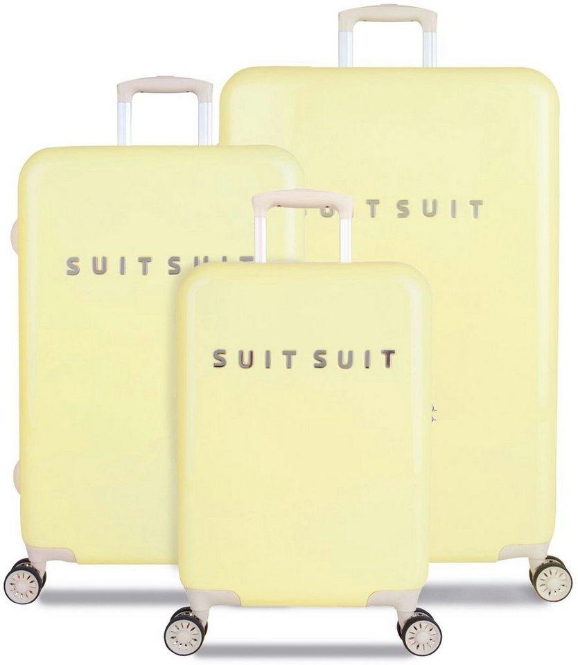 SUITSUIT® Hartschalentrolley Set mit 4 Rollen, 3-tlg., »Fabulous Fifties Mango Cream« in gelb