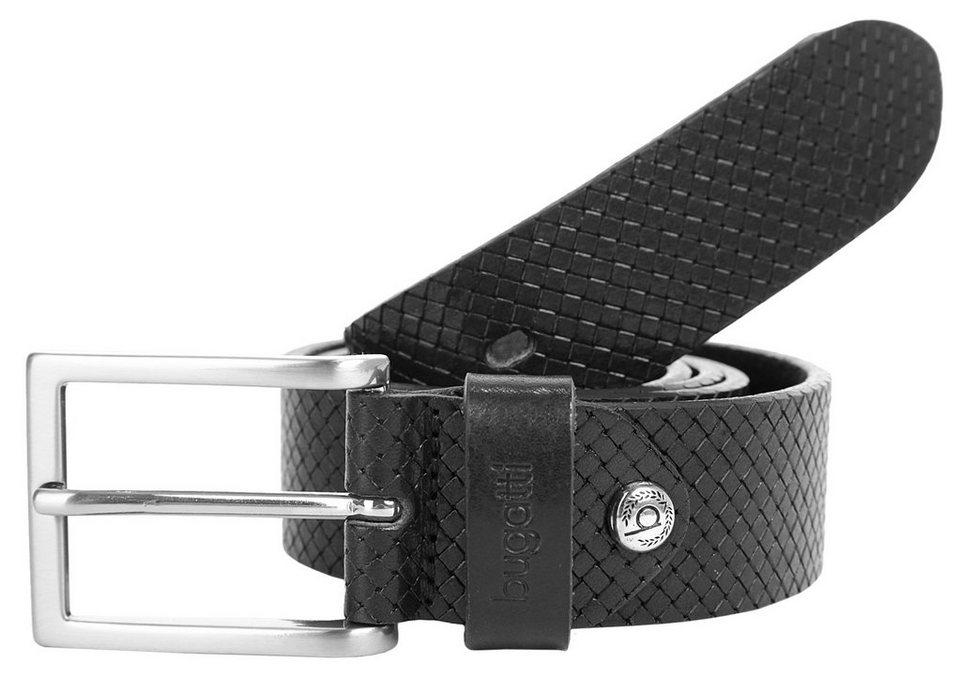 Bugatti Herren Leder Gürtel in schwarz
