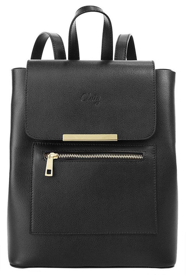 Cluty Damen Leder Rucksack in schwarz