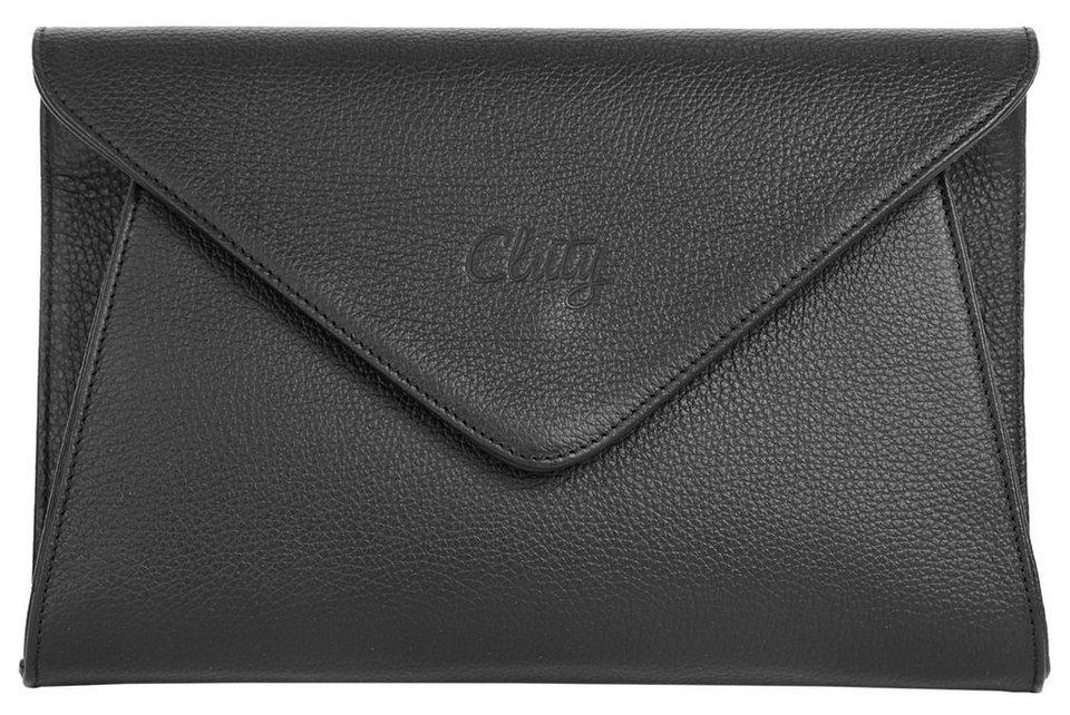 Cluty Leder Damen Abendtasche/Clutch in schwarz