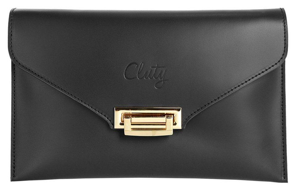 Cluty Leder Damen Abentasche / Clutch in schwarz