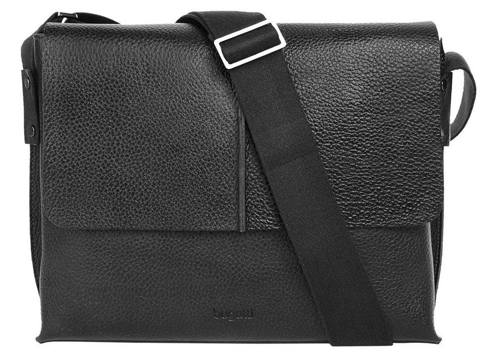 Bugatti Leder Messenger Tasche »Milano« in schwarz