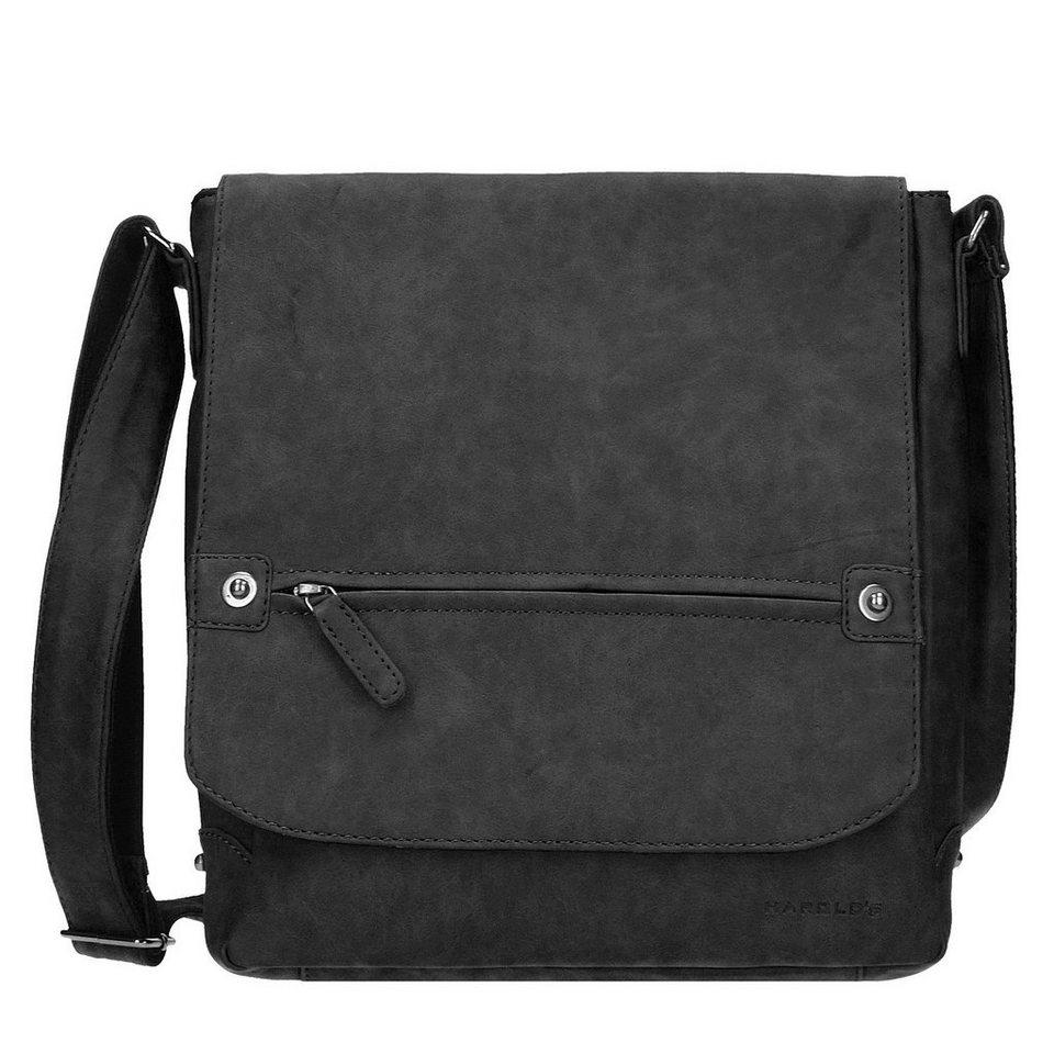 Harold's Antik Umhängetasche Leder 26 cm Laptopfach in schwarz