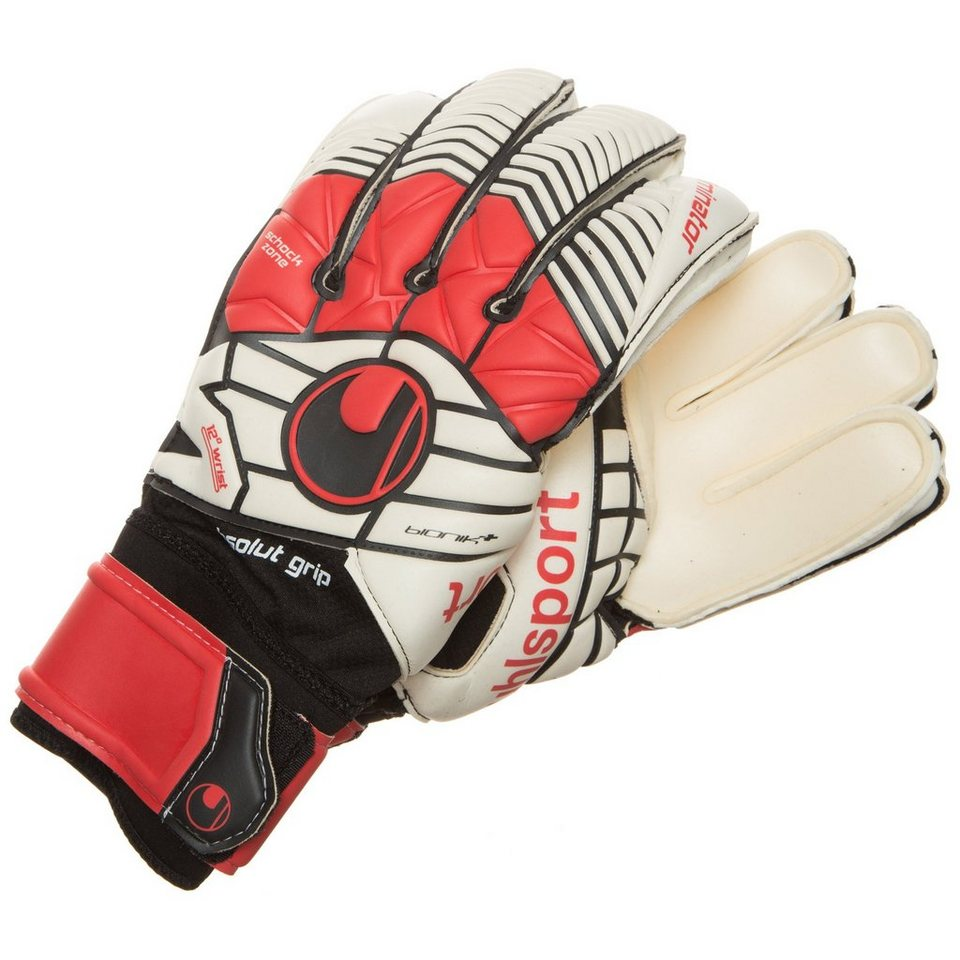 UHLSPORT Eliminator Absolutgrip BIONIK+ Torwarthandschuh Herren in schwarz / rot / weiß