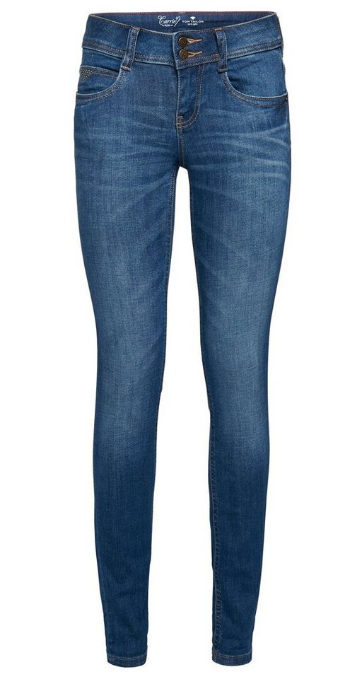 TOM TAILOR Jeans »Used-Jeans mit Nieten« in mid stone wash denim