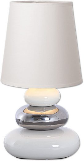 näve Tischleuchte »Stoney«, Tischlampe mit Keramikfuß und Textilschirm