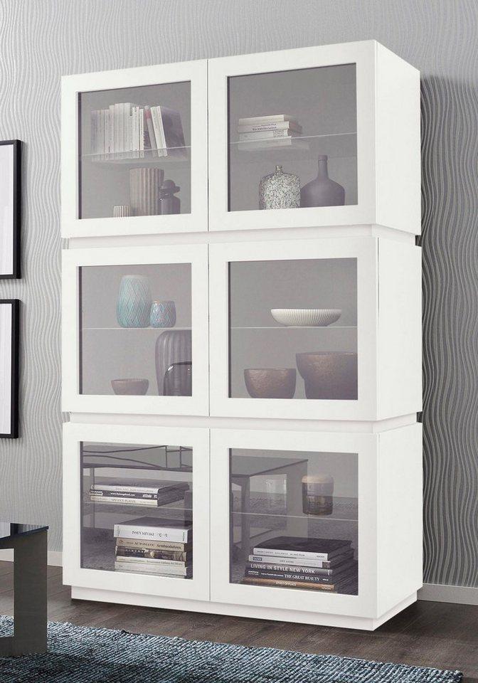 Highboard mit Glaseinsatz »Zela«, 6-türig, Breite 123 cm in Weiß Lack matt, Blende/Sockel: Weiß Lack matt